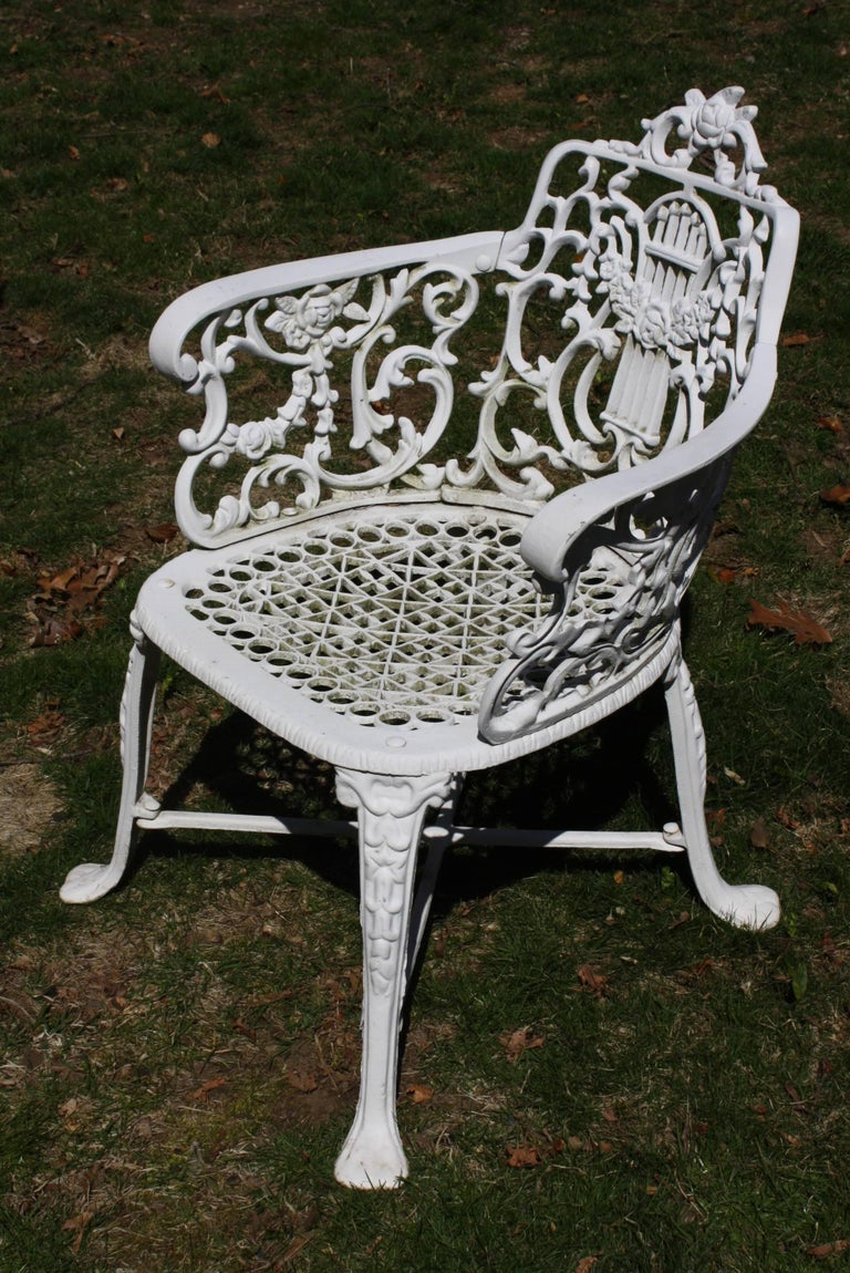 Ornate Victorian Style Garden Dining Set in Cast Aluminum For Sale 2
