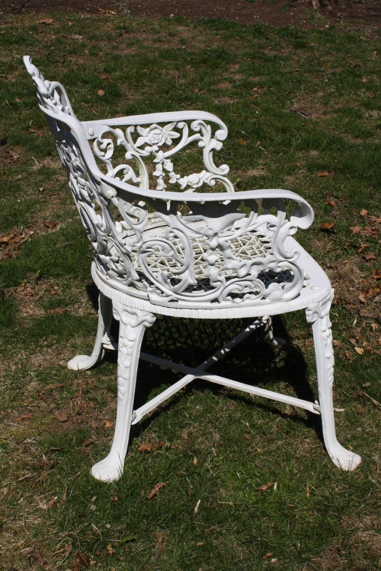Ornate Victorian Style Garden Dining Set in Cast Aluminum For Sale 3