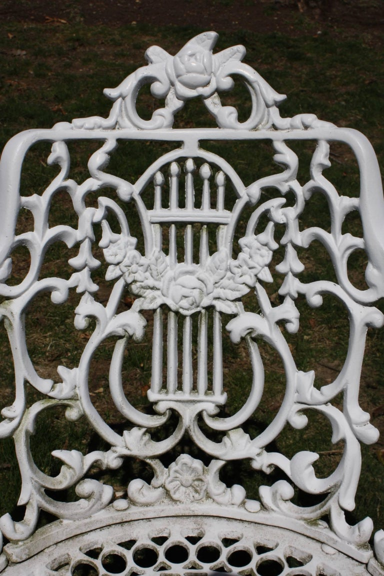 Ornate Victorian Style Garden Dining Set in Cast Aluminum For Sale 4