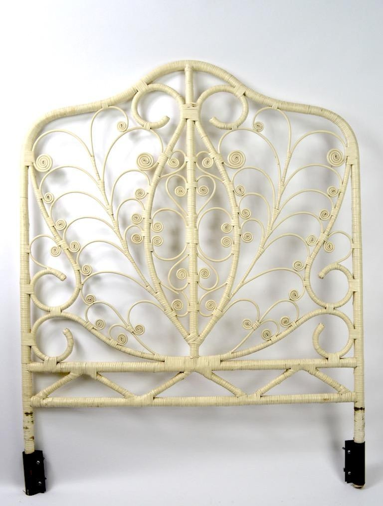 Ornate White Wicker Headboard