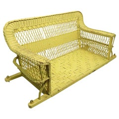 Ornate Wicker Porch Swing Attributed to Heywood Brothers