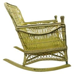 Ornate Wicker Rocking Chair Attributed to Heywood Brothers Company