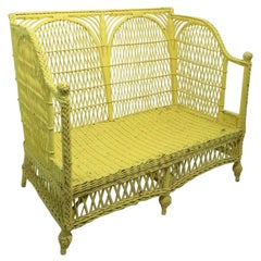 Ornate Wicker Settee Loveseat Sofa Attributed to Heywood Brothers Company