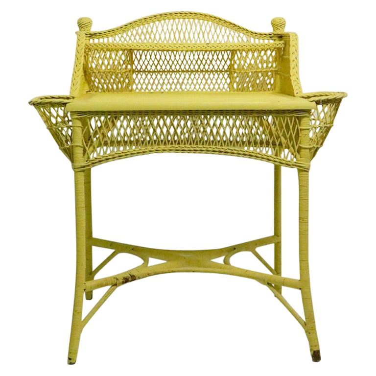 Ornate Wicker Writing Desk Attributed to Heywood Brothers