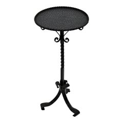 Ornate Wrought Black Iron Drinks Table, Pedestal or Gueridon, Spain, 1960s