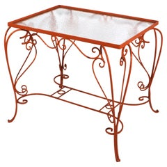 Ornate Wrought Iron Garden Patio Poolside Table with Textured Glass top