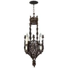 Ornate Wrought Iron Tudor Chandelier