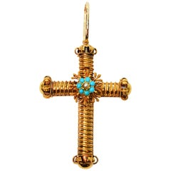 Ornate Yellow Gold Cross Pendant with Turquoise Pearl Accents