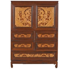 Ornately Carved Asian Modern Solid Teak Gentleman's Chest of Drawers