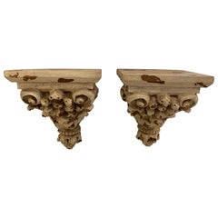 Ornately Carved Distressed Painted Wall Brackets