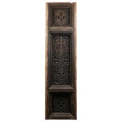 Ornately Carved Indian Hardwood Panel, 20th Century