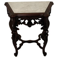 Ornately Carved Mahogany Side Table with Marble Top