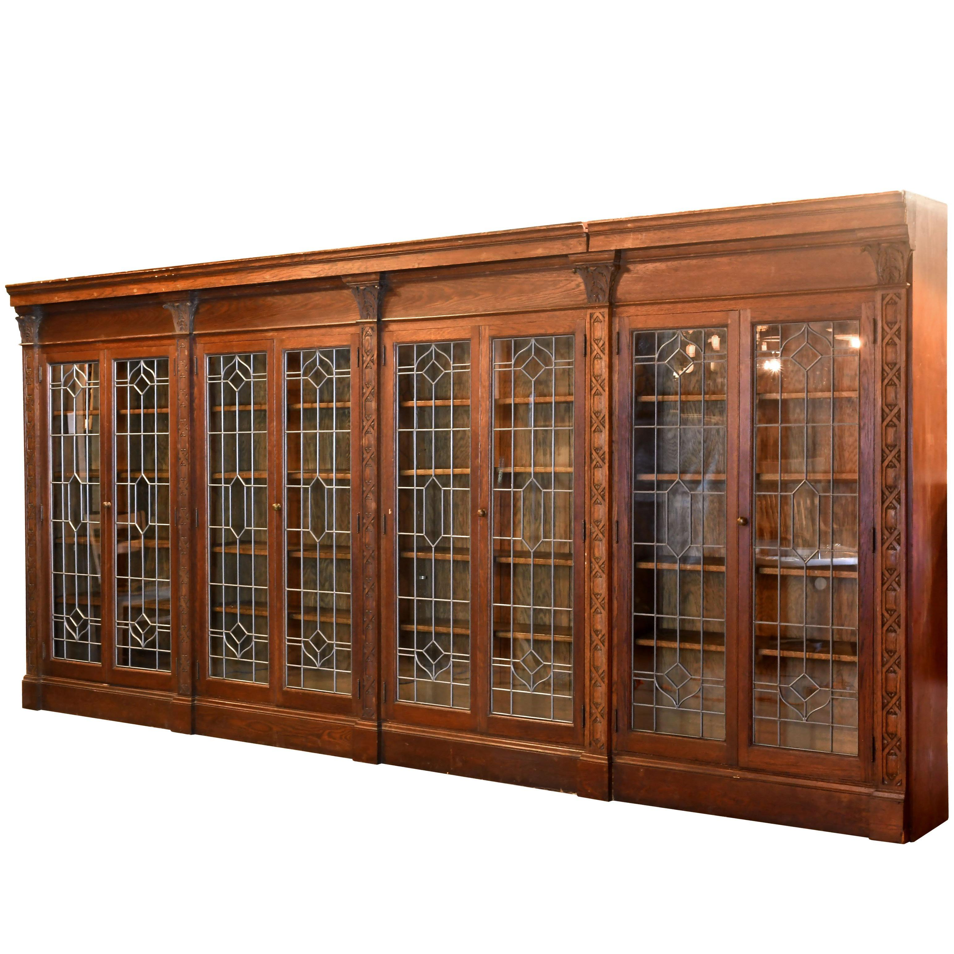 Ornately Carved Oak Bookcase With Leaded Glass Doors At 1stdibs