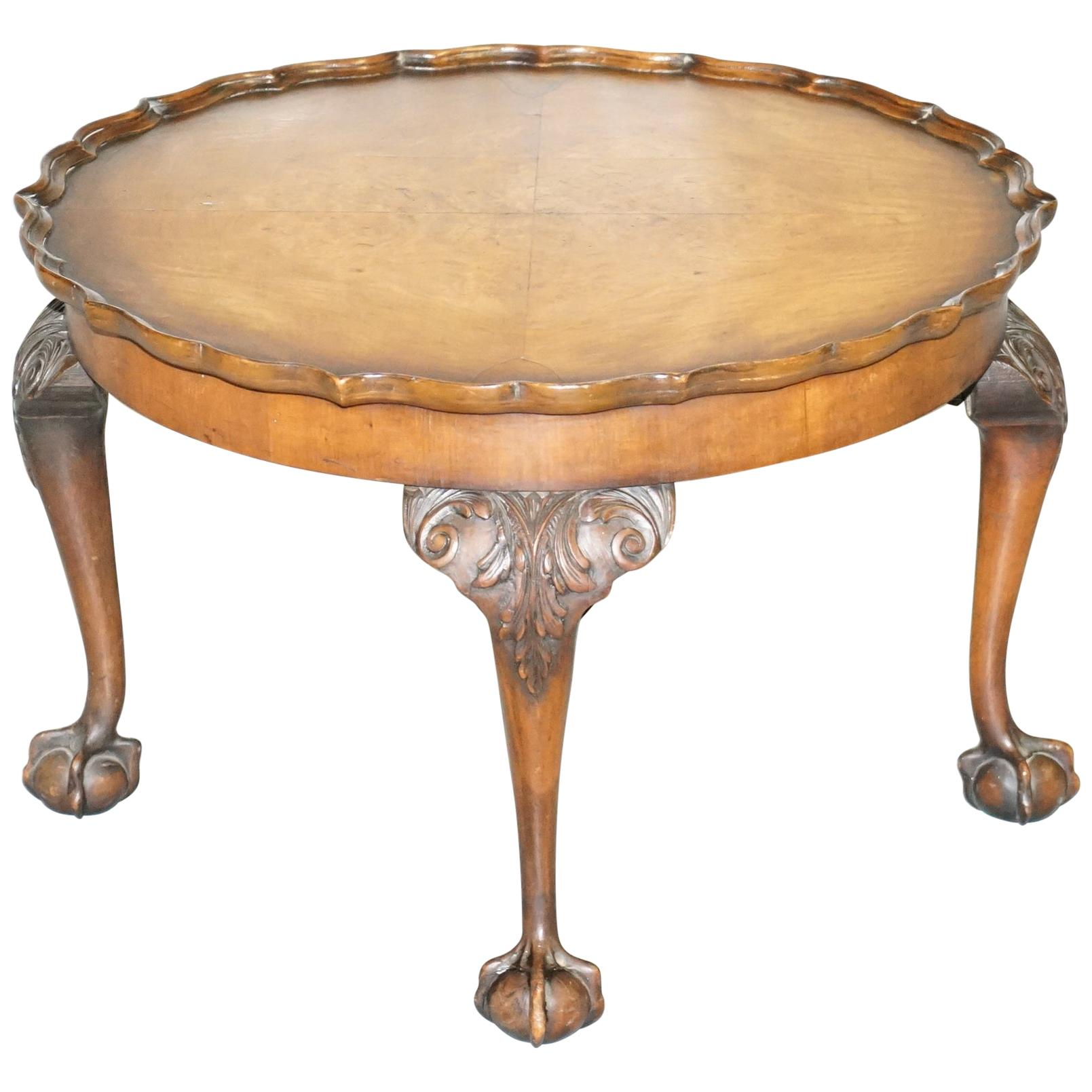 Ornately Carved Vintage Claw & Ball Coffee Table Pie Crust Edge Solid Walnut