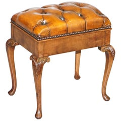Ornately Carved Walnut Cigar Brown Leather Piano Bench Stool Internal Storage