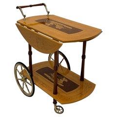 Ornately Decorated Italian Birch & Mahogany Inlaid Bar Cart with Chariot Scene