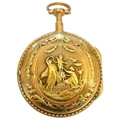 Ornately Designed 18-Karat Tri-Color Gold Pocket Watch by Mallet A Paris