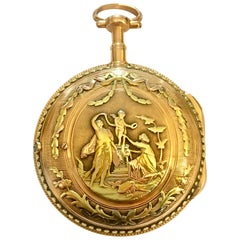 Ornately Designed 18 Karat Tri-Color Gold Pocket Watch by Mallet A Paris