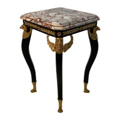 Ornately Elegant Eagle Motife Ebonized and Gilt Bronze End Table with Marble Top