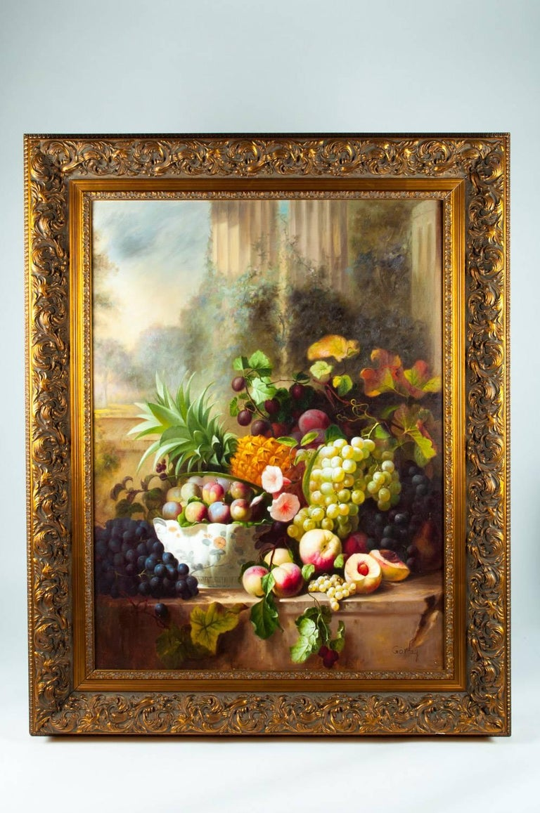 Ornately Framed Oil Painting Floral Bouquet Still Life For Sale 2