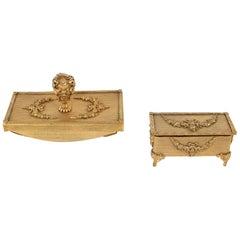 Ornately Gilt Gold Brass Desk Accessory Set