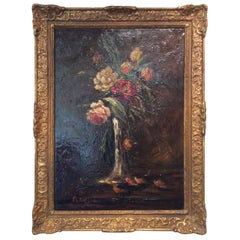 Ornately Giltwood Framed Still Life Painting by Charles Franzini D'issoncourt