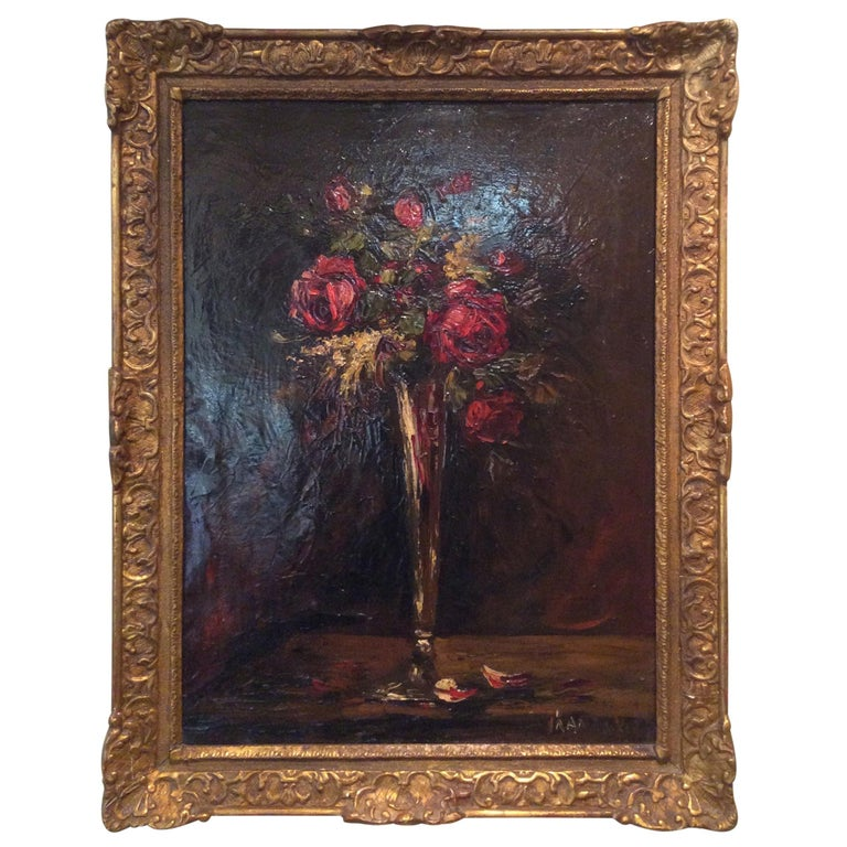 Ornately Giltwood Framed Still Life Painting by Charles Franzini D'issoncourt For Sale