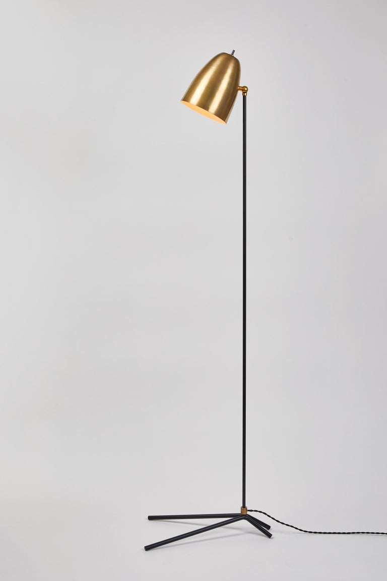 Mid-Century Modern 'ORO' Brass and Metal Floor Lamp For Sale
