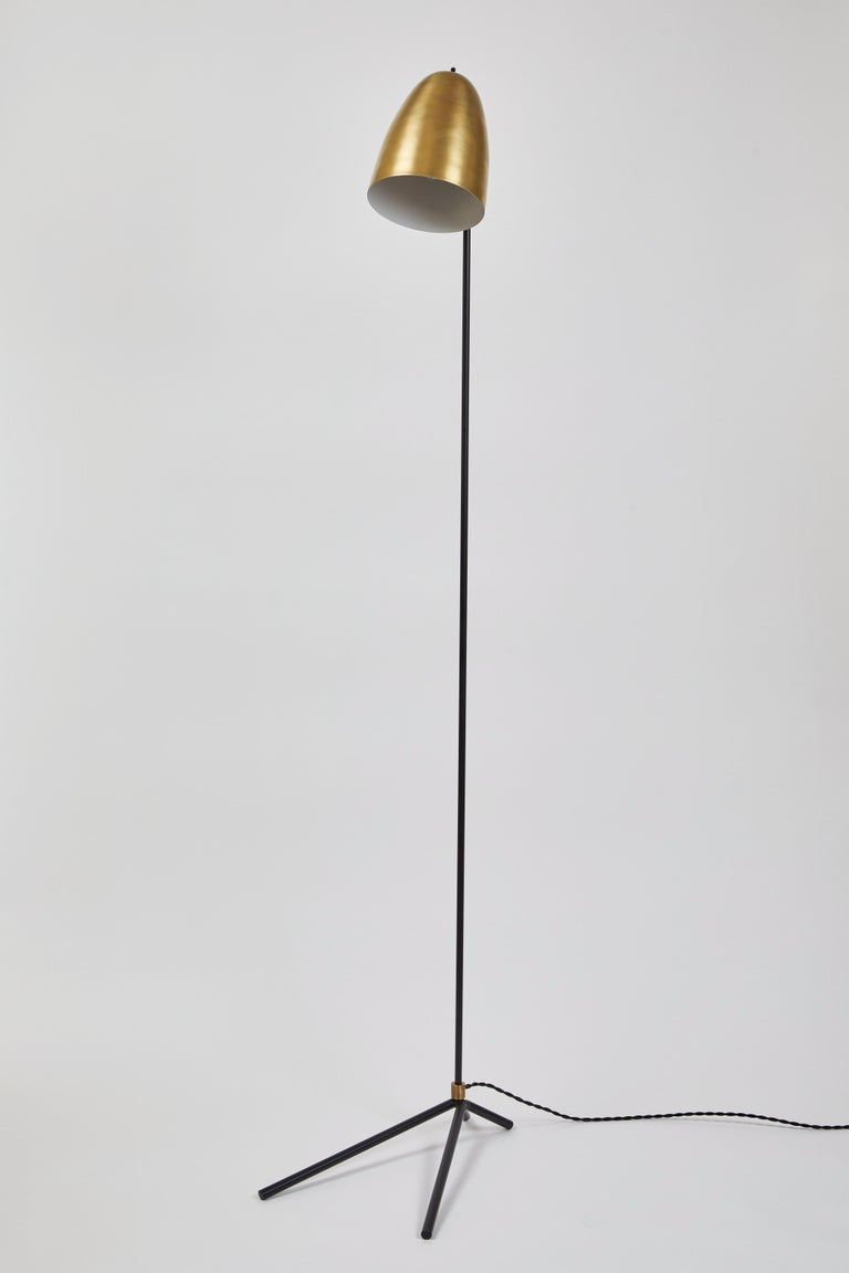 Contemporary 'ORO' Brass and Metal Floor Lamp For Sale