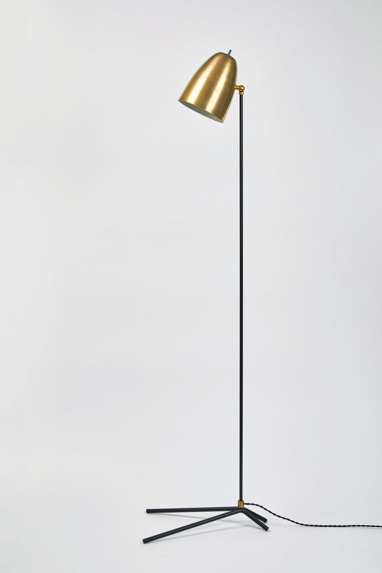 'ORO' Brass and Metal Floor Lamp For Sale 1