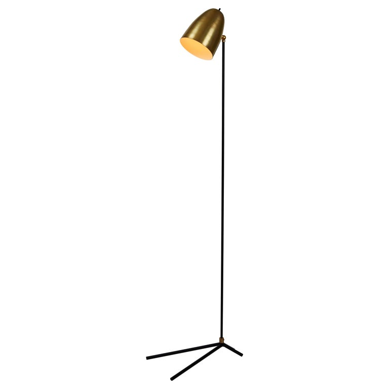 'ORO' Brass and Metal Floor Lamp For Sale