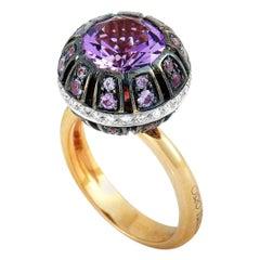 Oro Trend 18 Karat Gold 0.22 Carat Diamond, Amethyst and Purple Sapphire Ring