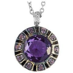 Oro Trend 18 Karat Gold 0.23 Carat Diamond Purple Sapphire and Amethyst Necklace