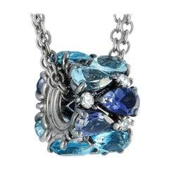 Oro Trend 18 Karat Gold 0.27 Carat Diamond, Aquamarine Iolite and Topaz Necklace