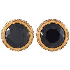 Oro Trend 18 Karat Gold 1.07 Carat White/Black Diamond and Onyx Stud Earrings