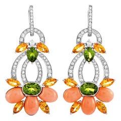 Oro Trend 18 Karat Gold 1.10 Carat Diamond, Imperial Topaz, Peridot and Coral