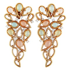Oro Trend 18 Karat Gold 1.20 Carat Diamond and Moonstone Chandelier Earrings