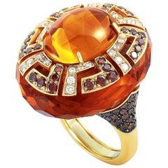 Oro Trend 18 Karat Gold 2.20 Carat White/Brown Diamond and Citrine Dome Ring