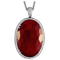 Oro Trend 18 Karat Gold 6.19 Carat White/Black Diamond and Carnelian Necklace