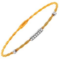 Oro Trend 18 Karat Rose and White Gold 0.15 Carat Diamond Bangle Bracelet