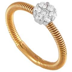 Oro Trend 18 Karat Rose and White Gold 0.23 Carat Diamond Ring