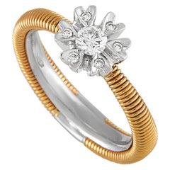 Oro Trend 18 Karat Rose and White Gold 0.28 Carat Diamond Ring