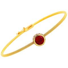 Oro Trend 18 Karat Rose Gold 0.15 Carat Diamond, Garnet and Ruby Bangle Bracelet