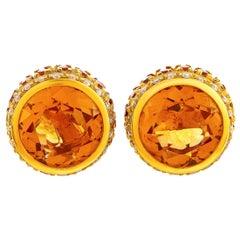 Oro Trend 18 Karat Rose Gold 0.25 Carat Diamond and Citrine Stud Earrings