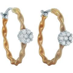 Oro Trend 18 Karat Rose Gold 0.34 Carat Diamond Hoop Earrings