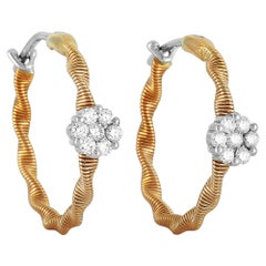 Oro Trend 18 Karat Rose Gold 0.34 Carat Diamond Hoop Earrings