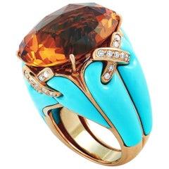 Oro Trend 18 Karat Rose Gold 0.51 Carat Diamond, Citrine and Turquoise Dome Ring