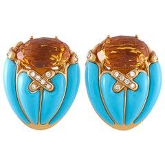 Oro Trend 18 Karat Rose Gold 0.55 Carat Diamond Turquoise and Citrine Earrings