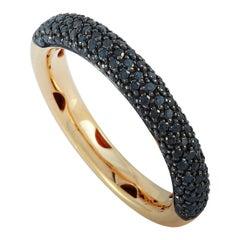 Oro Trend 18 Karat Rose Gold 0.65 Carat Black Diamond Band Ring