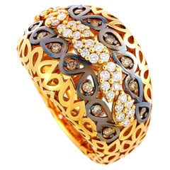 Oro Trend 18 Karat Rose Gold 0.77 Carat White/Brown Diamond Ring
